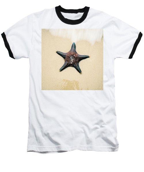 Starfish On The Beach Sand. Close Up. Baseball T-Shirt