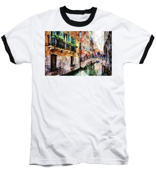 People On Bridge Over Canal In Venice, Italy - Watercolor Painting Effect Baseball T-Shirt