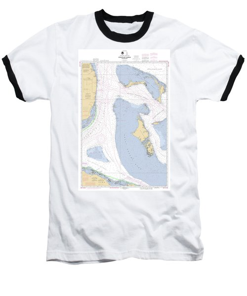 Straits Of Florida, Eastern Part Noaa Nautical Chart Baseball T-Shirt