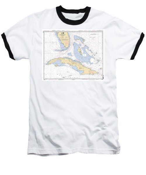 Straits Of Florida Nautical Chart 11013 Baseball T-Shirt