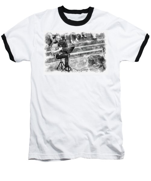 Baseball T-Shirt featuring the digital art Street Musician In Florence by Eduardo Jose Accorinti