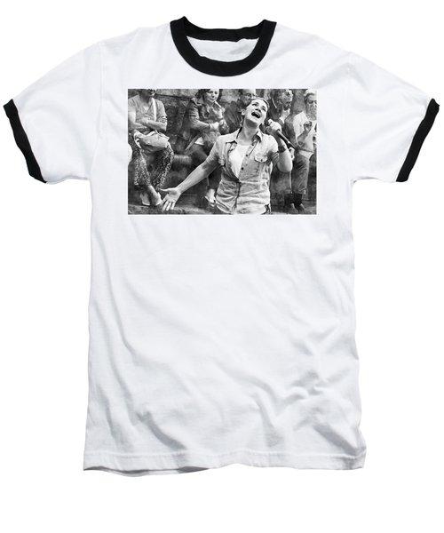 Baseball T-Shirt featuring the digital art Street Singer In Florence by Eduardo Jose Accorinti