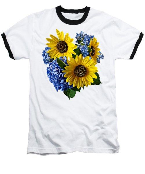 Sunflowers And Hydrangeas Baseball T-Shirt