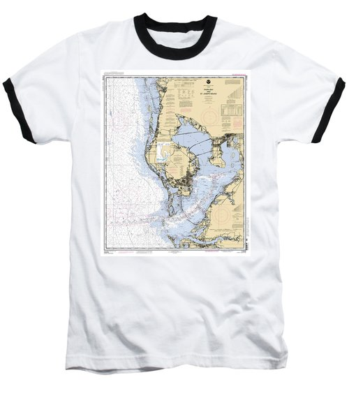 Tampa Bay And St. Joseph Sound Noaa Chart 11412 Baseball T-Shirt