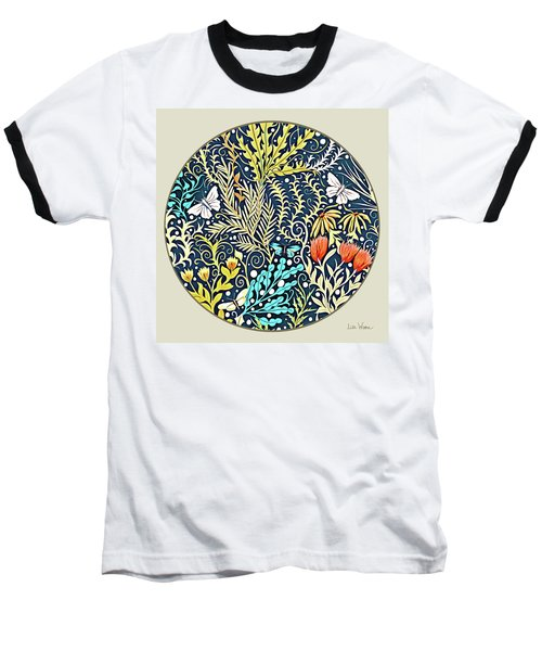 Tapestry Design Button Baseball T-Shirt