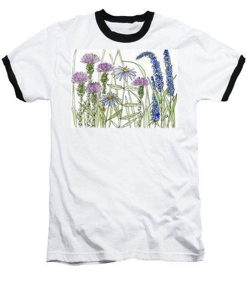 Thistle Asters Blue Flower Watercolor Wildflower Baseball T-Shirt