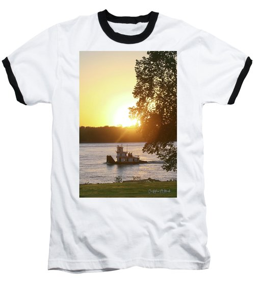 Tugboat On Mississippi River Baseball T-Shirt