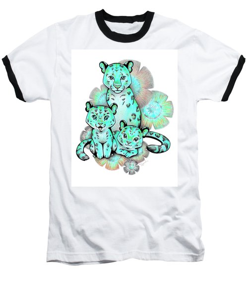 Turquoise Leopards Baseball T-Shirt