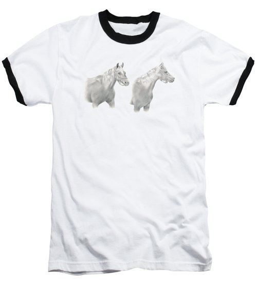 Two Horse Study Baseball T-Shirt