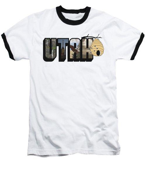 Utah The Beehive State Big Letter Baseball T-Shirt