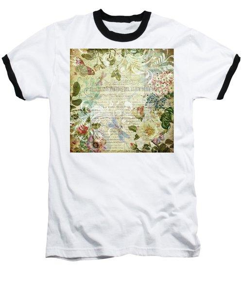 Vintage Botanical Illustration Collage Baseball T-Shirt