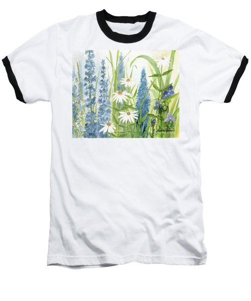 Watercolor Blue Flowers Baseball T-Shirt