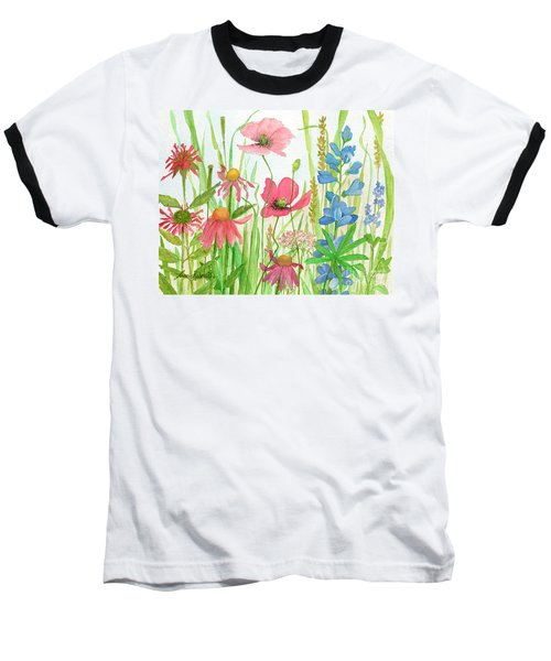 Watercolor Touch Of Blue Flowers Baseball T-Shirt