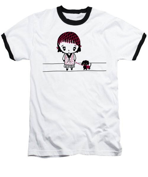 Whimsy Girl And Dog In Black And Red Baseball T-Shirt
