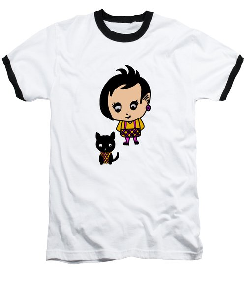 Whimsy Girl And Dog In Tartan Baseball T-Shirt
