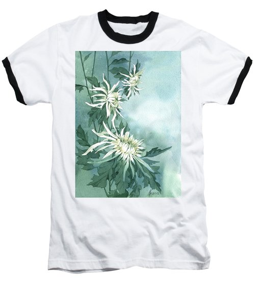 White Chrysanthemums Flowers Baseball T-Shirt