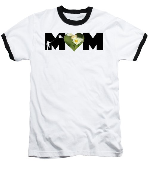 White Cosmos In Heart With Little Boy Mom Big Letter Baseball T-Shirt