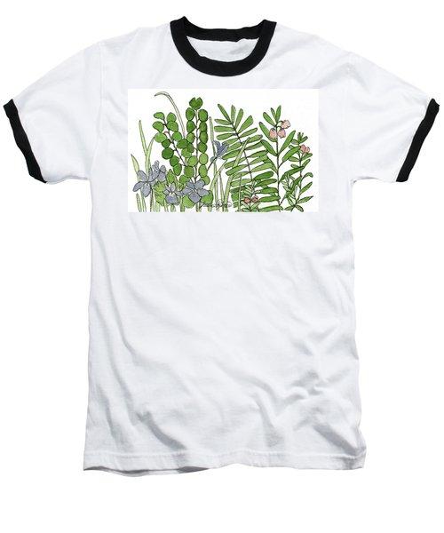 Woodland Ferns Violets Nature Illustration Baseball T-Shirt