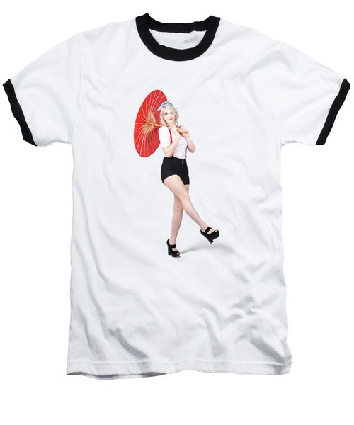 Young Beautiful Pin Up Woman Posing With Umbrella Baseball T-Shirt
