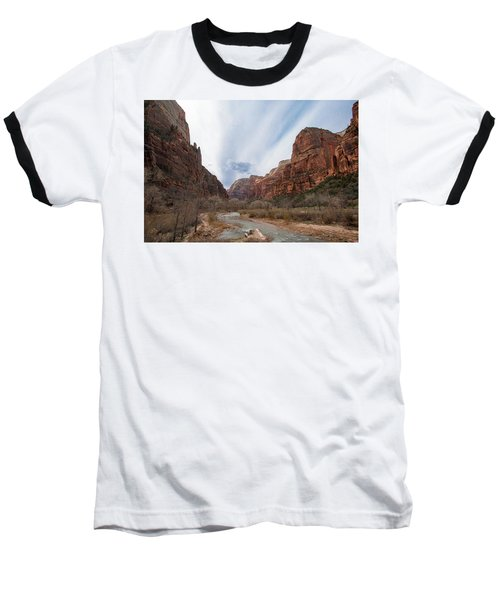 Zion National Park And Virgin River Baseball T-Shirt