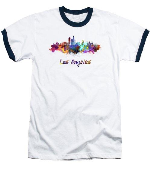 Los Angeles Skyline In Watercolor Baseball T-Shirt by Pablo Romero