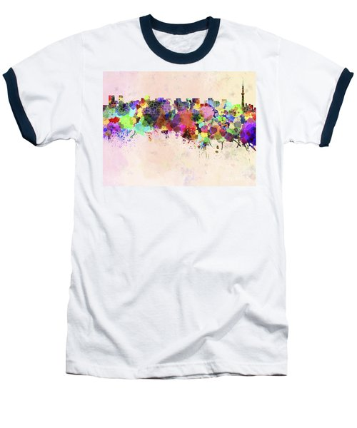 Tokyo Skyline In Watercolor Background Baseball T-Shirt by Pablo Romero