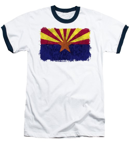 Arizona Flag Baseball T-Shirt by World Art Prints And Designs