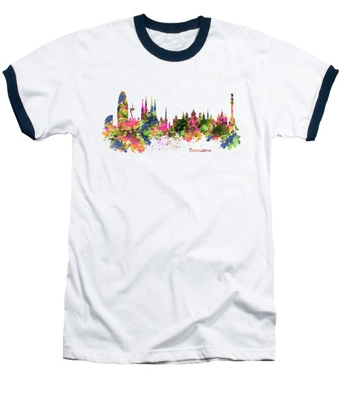 Barcelona Watercolor Skyline Baseball T-Shirt by Marian Voicu