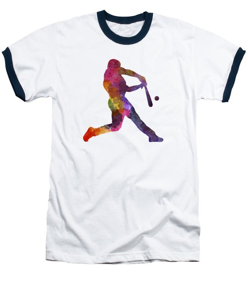 Baseball Player Hitting A Ball Baseball T-Shirt by Pablo Romero