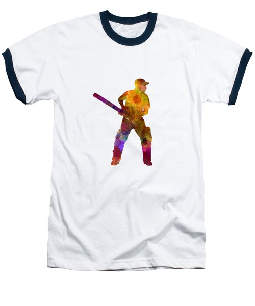 Cricket Player Batsman Silhouette 07 Baseball T-Shirt by Pablo Romero