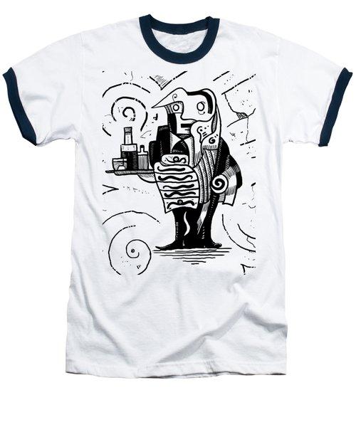 Cubist Waiter Baseball T-Shirt by Sotuland Art