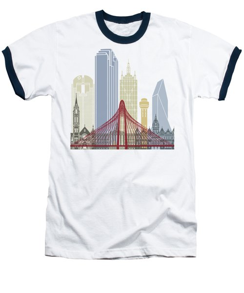 Dallas Skyline Poster Baseball T-Shirt by Pablo Romero