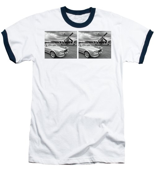 Eleanor Mustang With P51 Black And White Baseball T-Shirt by Gill Billington