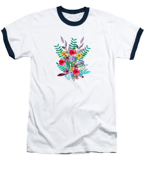 Floral Bouquet Baseball T-Shirt by Amanda Lakey