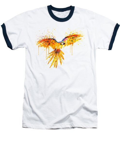 Flying Parrot Watercolor Baseball T-Shirt by Marian Voicu