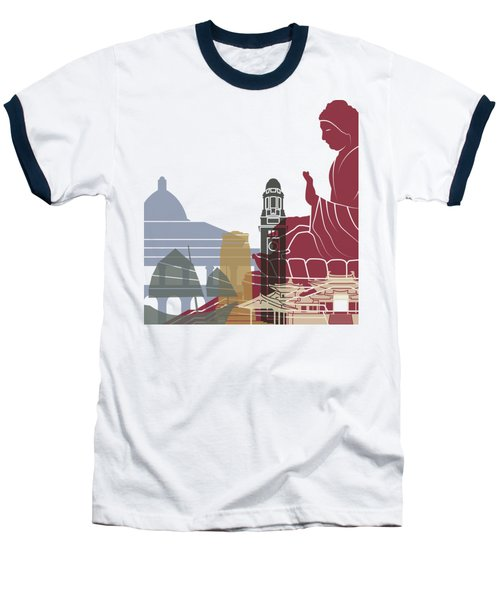 Hong Kong Skyline Poster Baseball T-Shirt by Pablo Romero