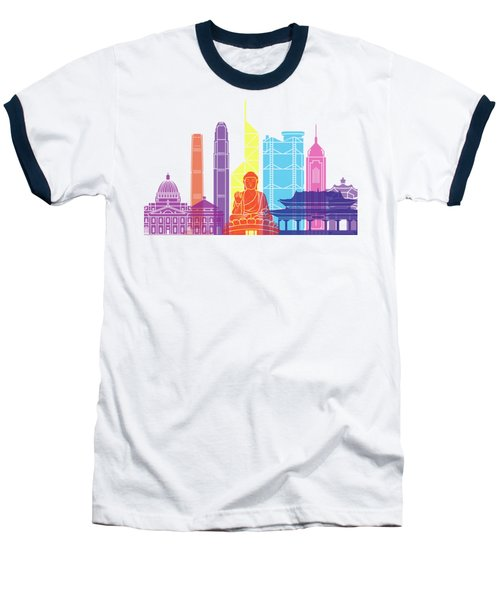 Hong Kong V2 Skyline Pop Baseball T-Shirt by Pablo Romero