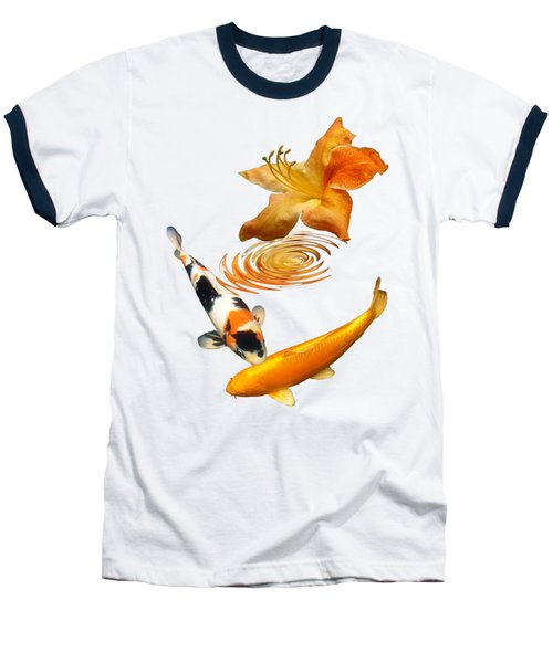 Koi With Azalea Ripples Vertical Baseball T-Shirt by Gill Billington