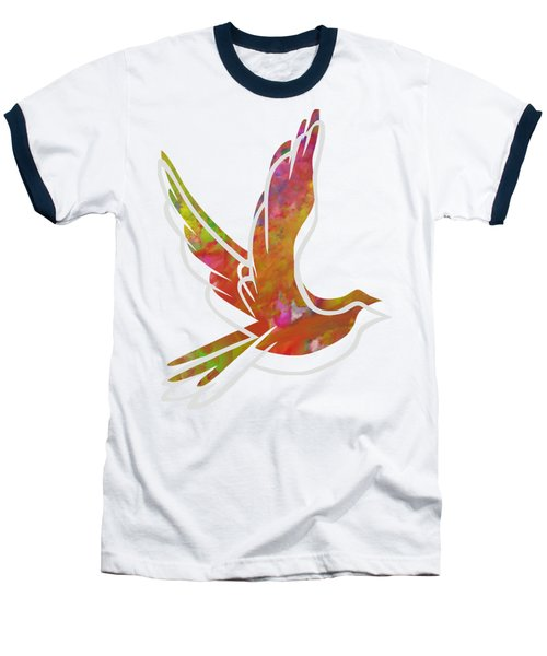 Part Of Peace Dove Baseball T-Shirt by Priscilla Wolfe