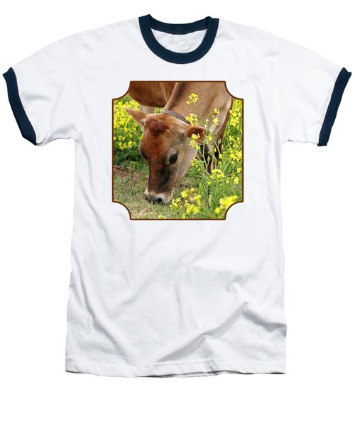Pretty Jersey Cow - Vertical Baseball T-Shirt by Gill Billington