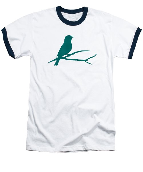 Baseball T-Shirt featuring the mixed media Rustic Green Bird Silhouette by Christina Rollo