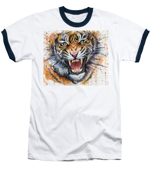 Tiger Watercolor Portrait Baseball T-Shirt by Olga Shvartsur