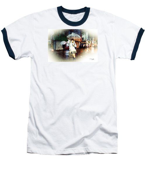 Baseball T-Shirt featuring the painting Rainytokyo Night by Chris Armytage