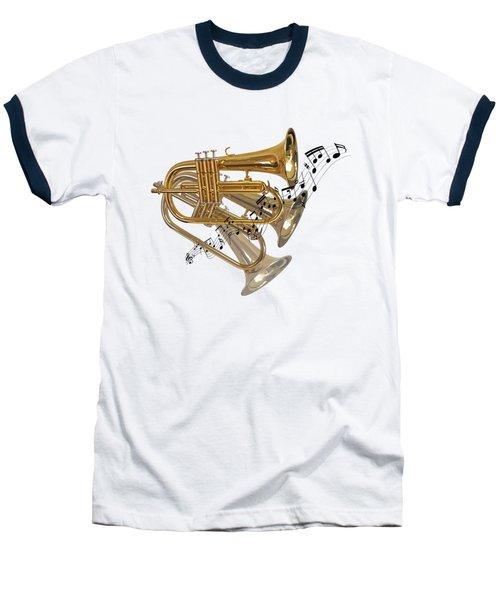 Trumpet Fanfare Baseball T-Shirt by Gill Billington