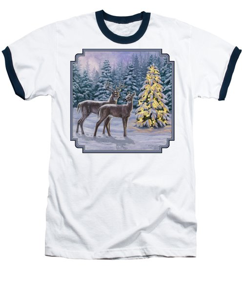 Whitetail Christmas Baseball T-Shirt by Crista Forest