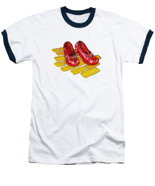 Wizard Of Oz Ruby Slippers Baseball T-Shirt by Irina Sztukowski