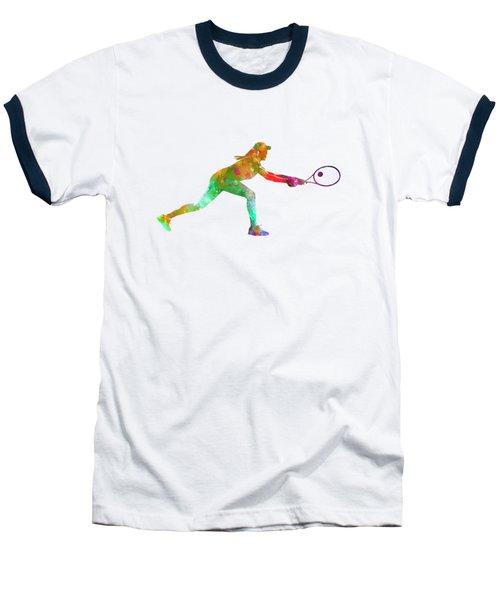 Woman Tennis Player Sadness 02 In Watercolor Baseball T-Shirt by Pablo Romero