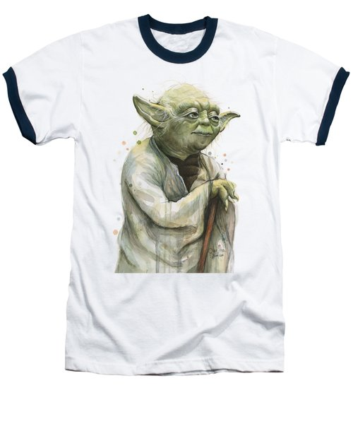 Yoda Portrait Baseball T-Shirt by Olga Shvartsur