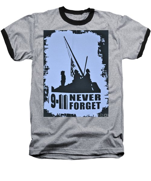 911 Poster In Black And White Baseball T-Shirt by Bob Sample