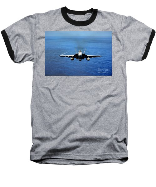 Baseball T-Shirt featuring the photograph  A Fa-18 Hornet Demonstrates Air Power. by Paul Fearn